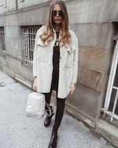 bag,backpack,ankle boots,black skinny jeans,coat,black top