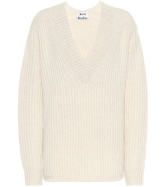 Acne Studios Ribbed-knit wool sweater in white