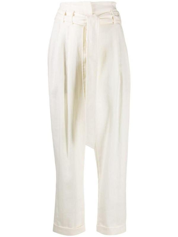 Brunello Cucinelli high waist tie fastened trousers in white