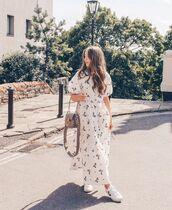 dress,white dress,maxi dress,short sleeve dress,white sneakers,bag