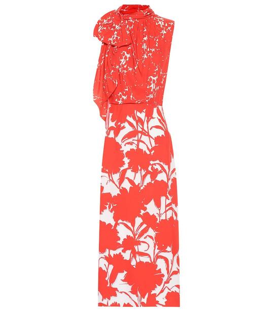 Prada Floral-printed twill midi dress in red