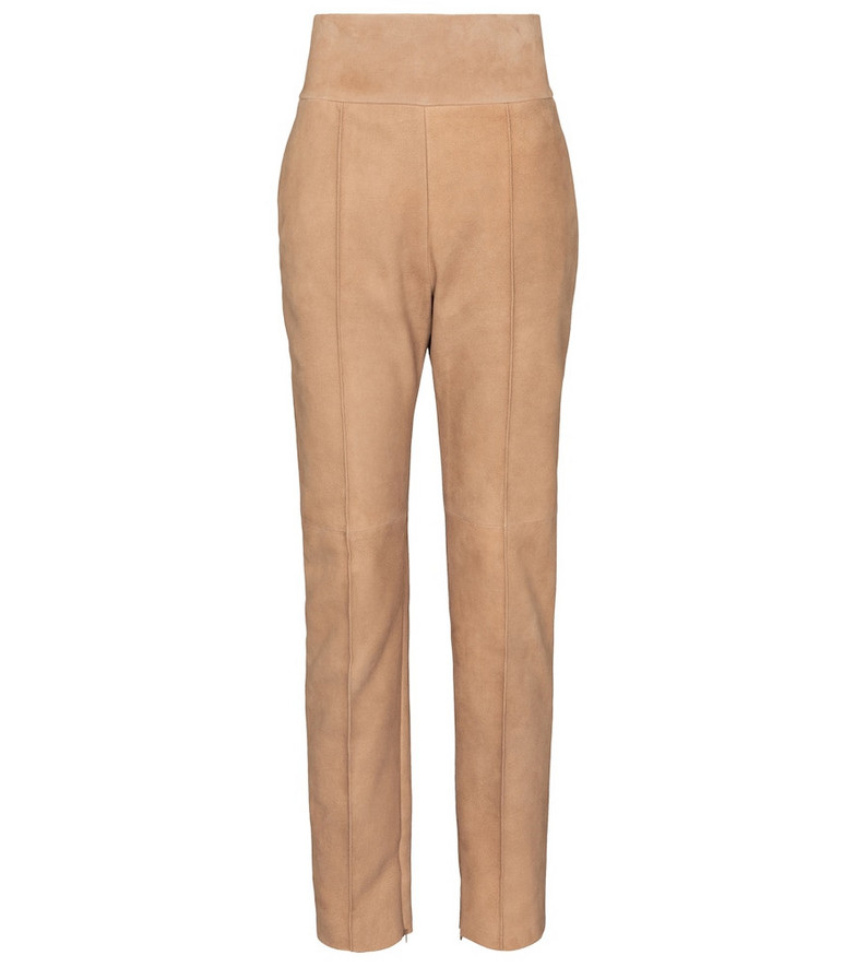 Alexandre Vauthier High-rise suede pants in beige