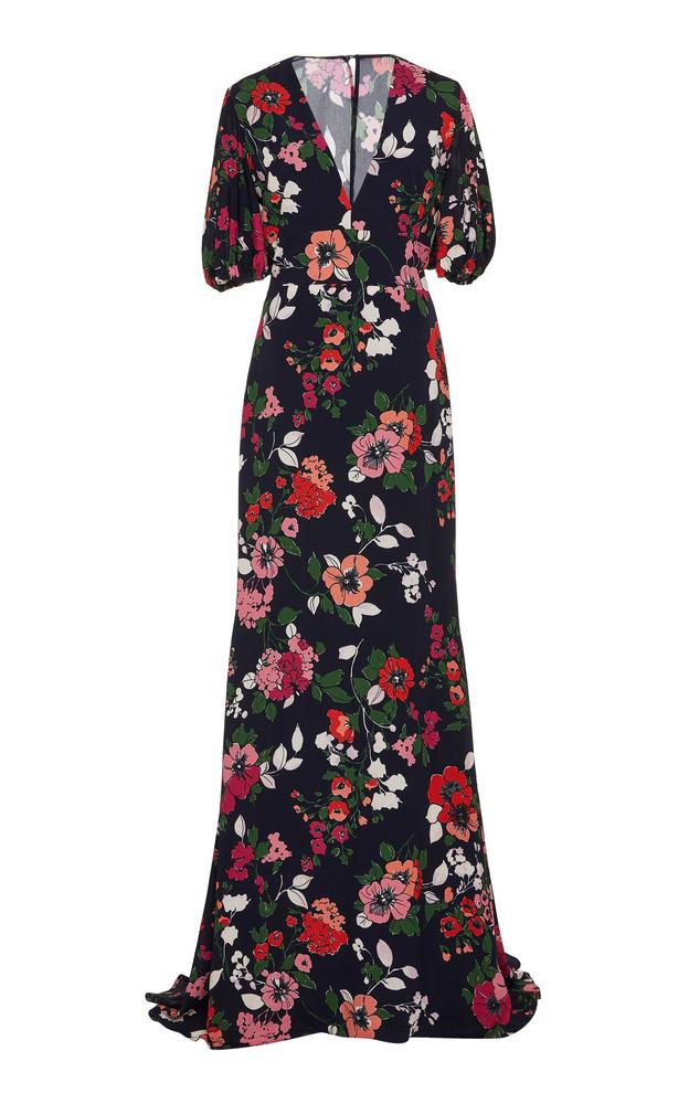 Lela Rose Floral-Print Crepe De Chine Maxi Dress Size: 0 in pink