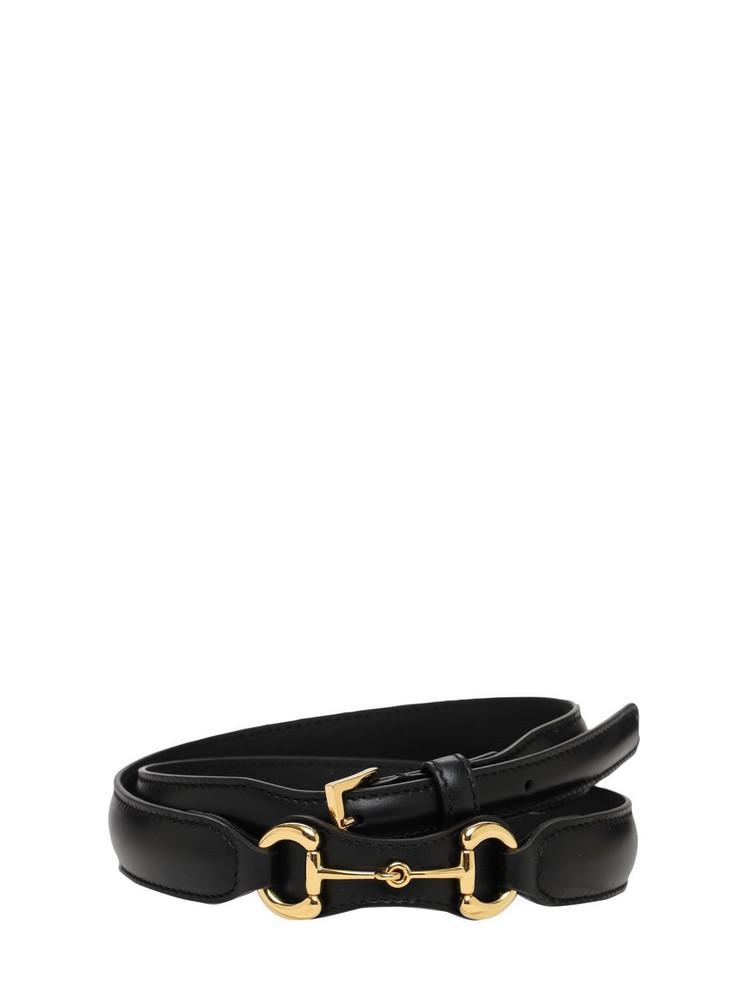 GUCCI 2.3cm Horsebit Leather Belt in black