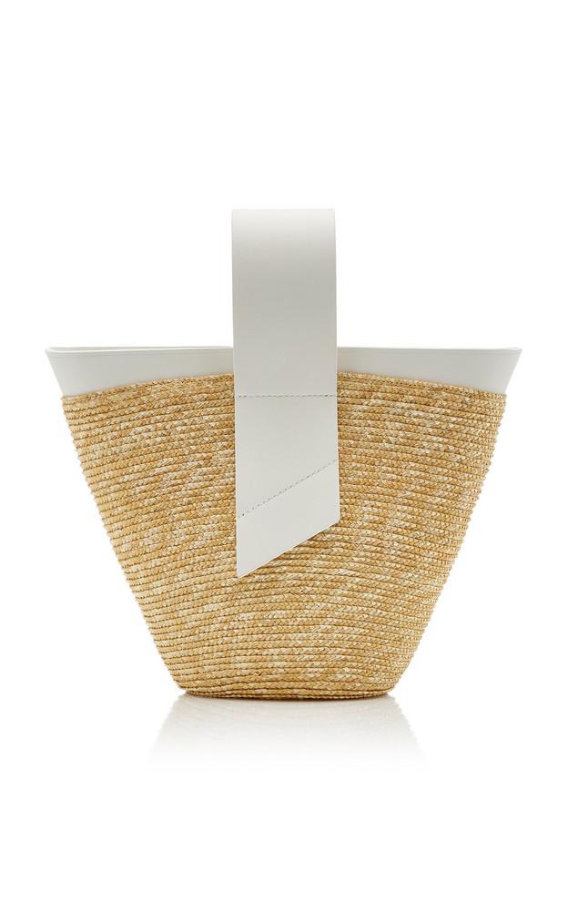 Carolina Santo Domingo Amphora Straw and Leather Top-Handle Bag in ivory