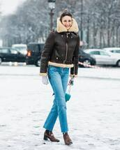 jacket,shearling jacket,aviator jacket,brown jacket,brown boots,ankle boots,cropped jeans,straight jeans,chanel bag,blue bag