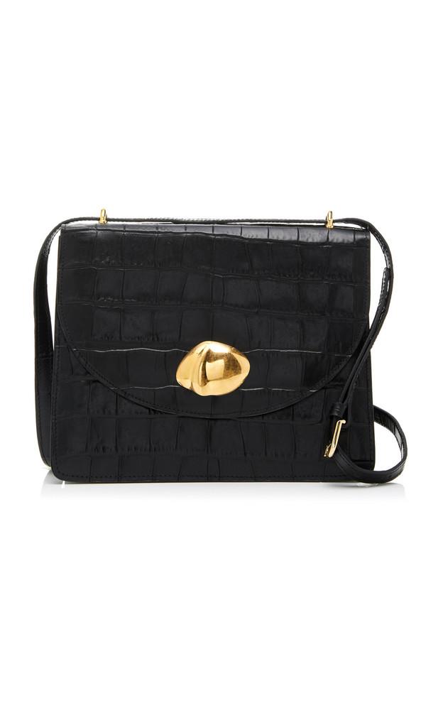 Little Liffner Everyday Croc-Effect Leather Shoulder Bag in black