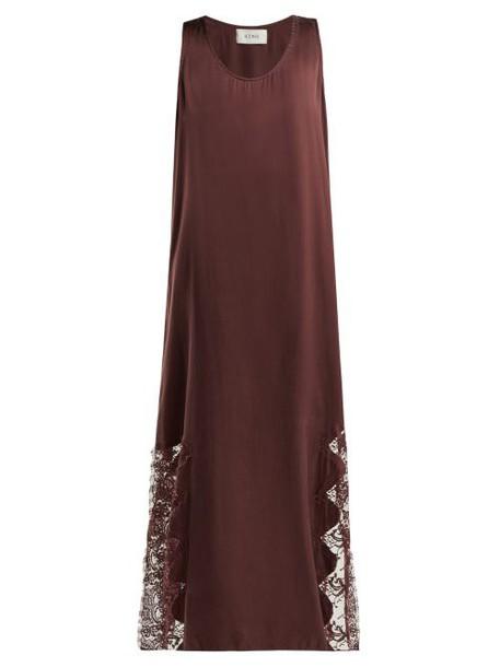 Icons - Violet Silk Maxi Dress - Womens - Burgundy