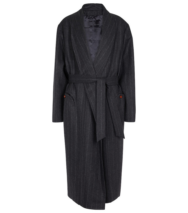 BLAZÉ MILANO Striped wool and cashmere coat in grey