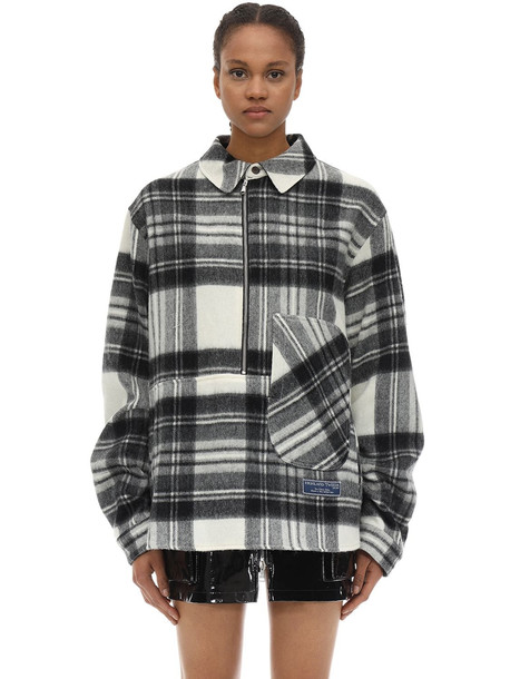 WE11 DONE English Wool Check Plaid Shirt Jacket in black / white