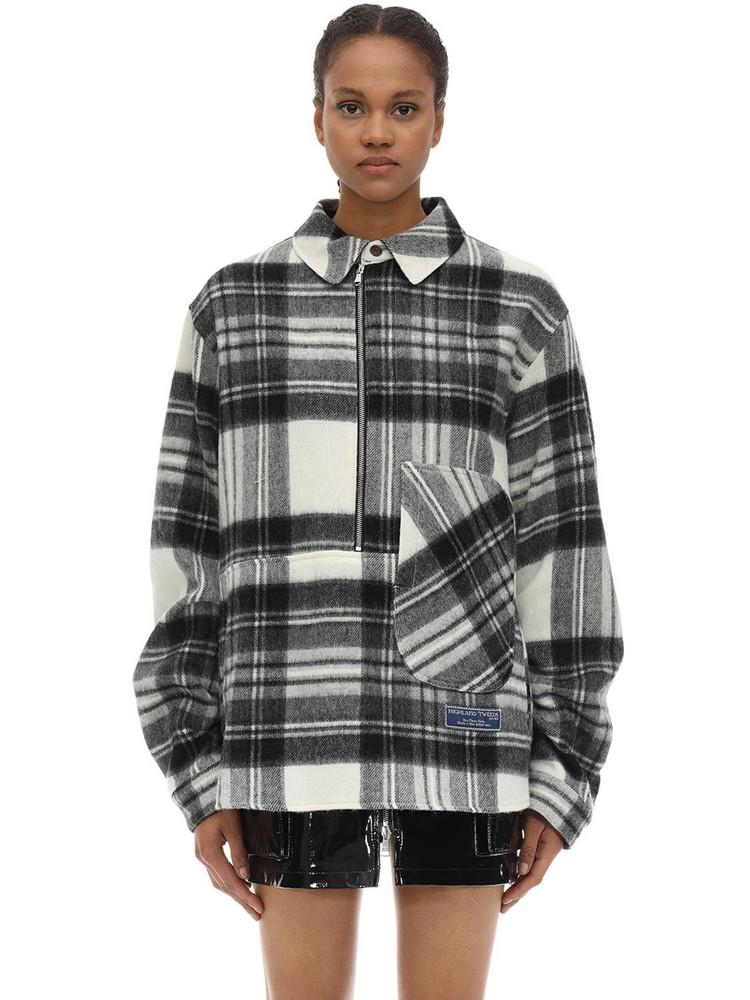 WE11 DONE English Wool Check Plaid Shirt Jacket in black / white