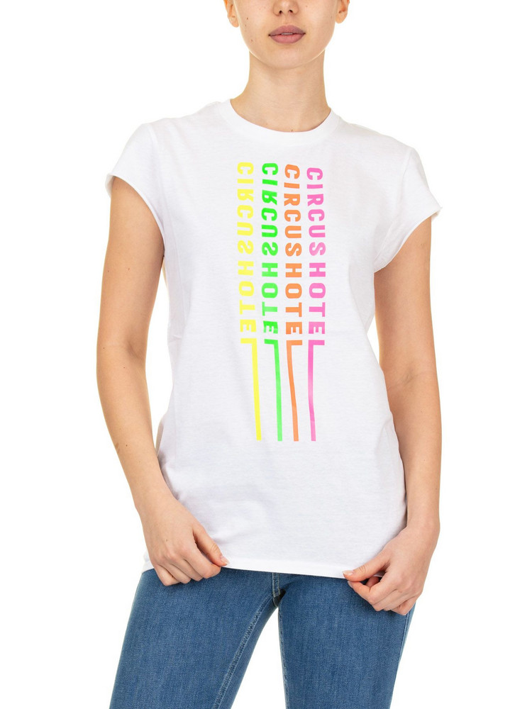 Circus Hotel T-shirt Logo Neon in white