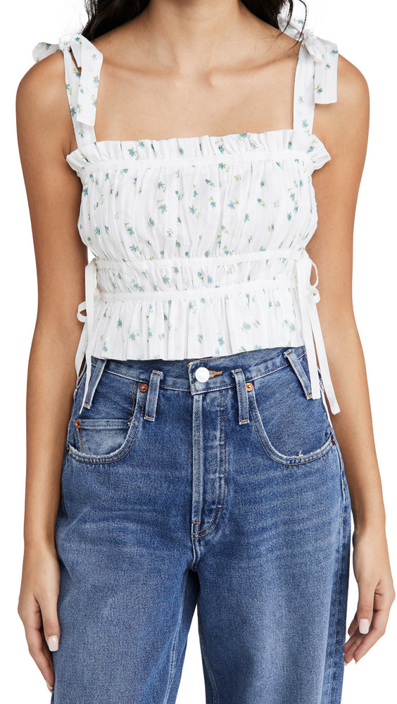 Playa Lucila Pleated Floral Top in white