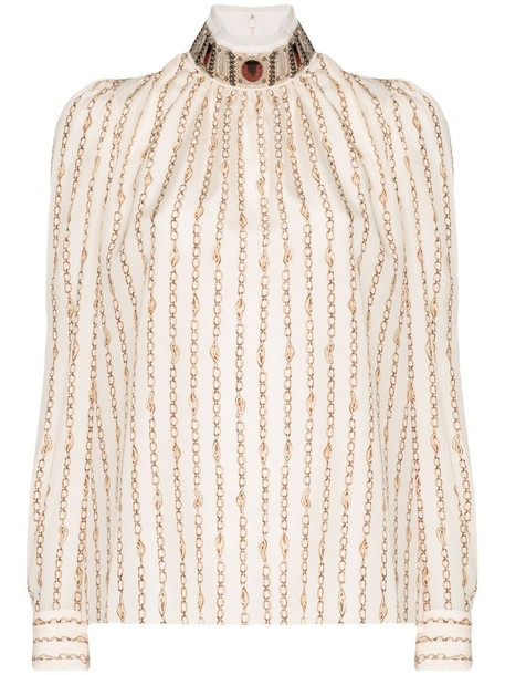 Chloé high-neck chain detail blouse in neutrals