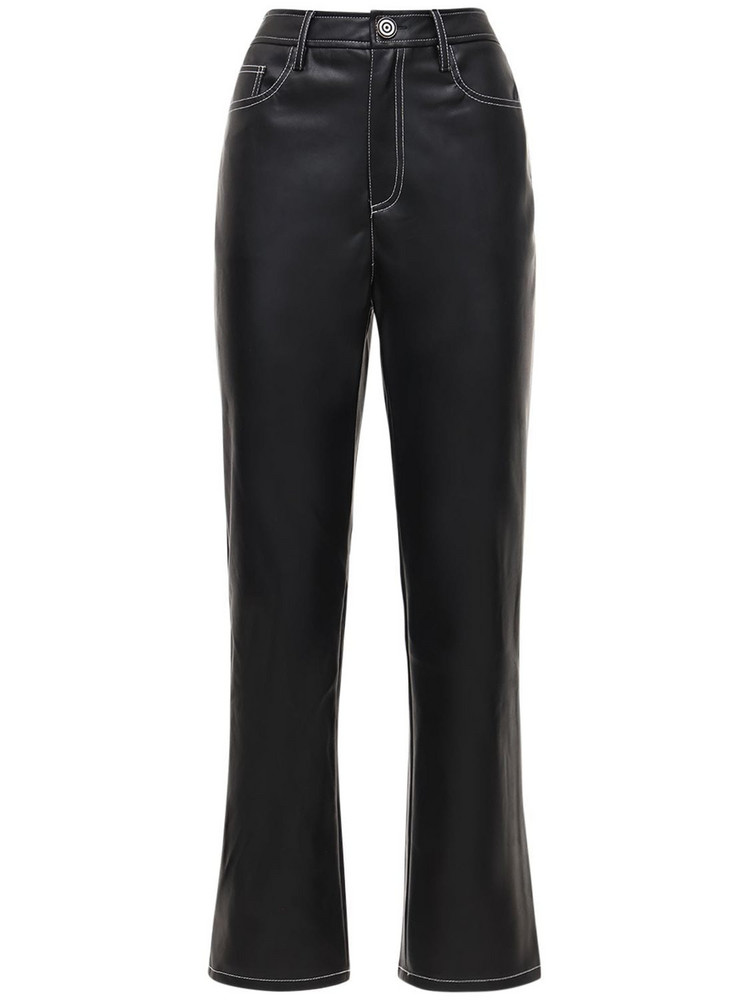 STAUD Aly Faux Leather Pants in black