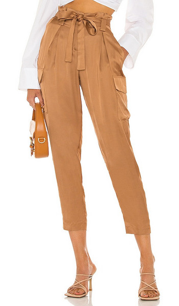 L'AGENCE Roxy Paperbag Cargo Pant in Tan in camel