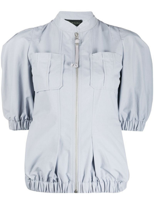 Mr & Mrs Italy short sleeve panelled jacket in grey