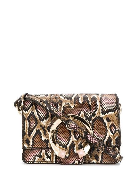 Jimmy Choo Madeline python-effect shoulder bag in brown