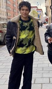 sweater,omar rudberg,lime,black,pattern