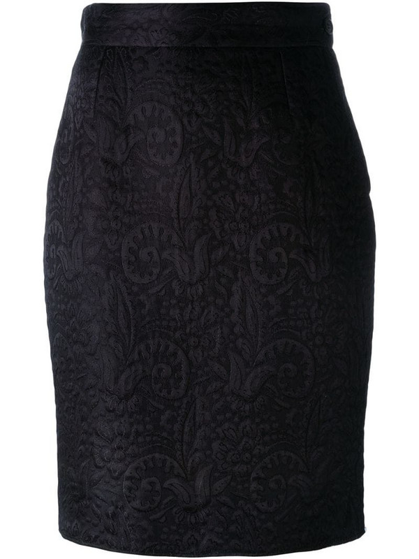 Moschino Pre-Owned jacquard pencil skirt in black
