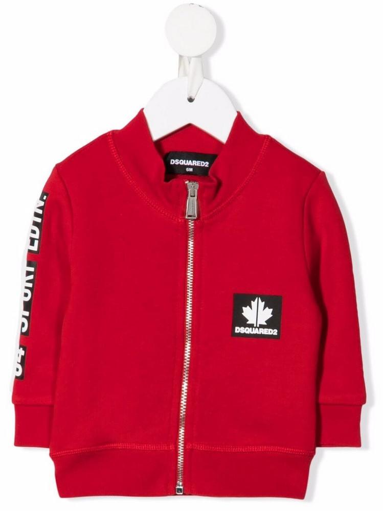 Dsquared2 Kids maple-leaf bomber jacket in red