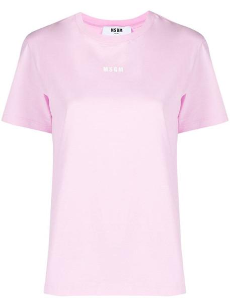 MSGM logo print short-sleeve T-shirt in pink