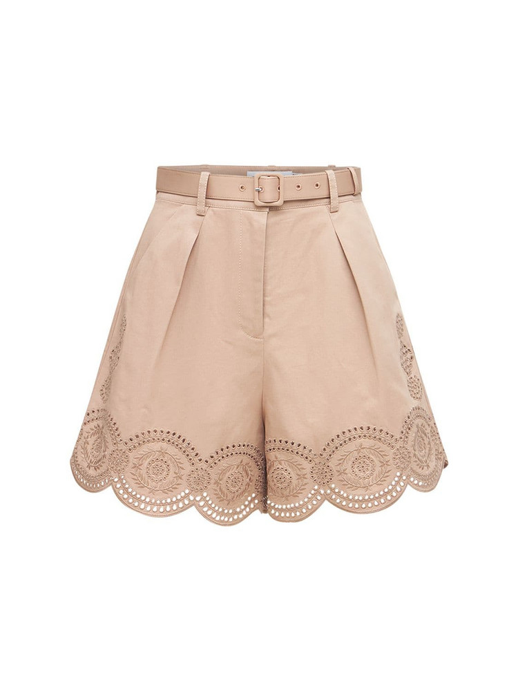 SELF-PORTRAIT Embroidered Cotton Canvas Shorts in beige