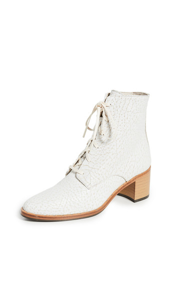 Freda Salvador Ace Lace Up Booties in white