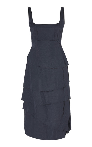 Brock Collection Asymmetric Midi Dress Size: 0 in black