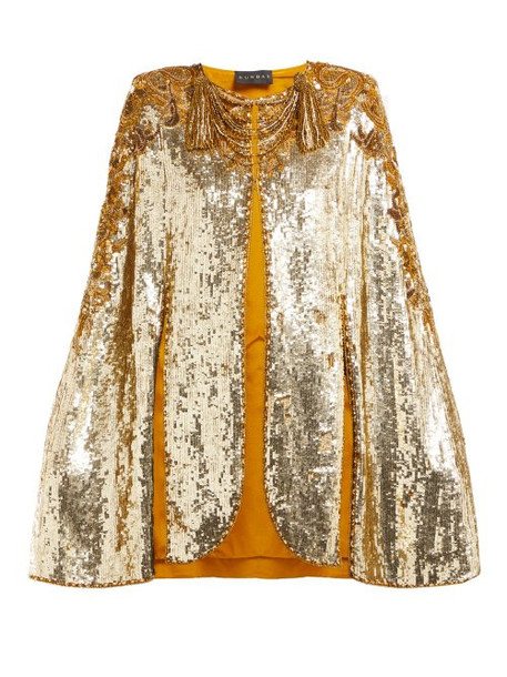 Dundas - Embroidered Sequinned Sleeveless Cape - Womens - Gold