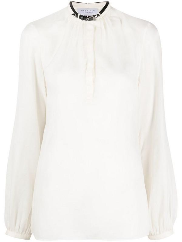 Gabriela Hearst belted collar long-sleeved shirt in neutrals