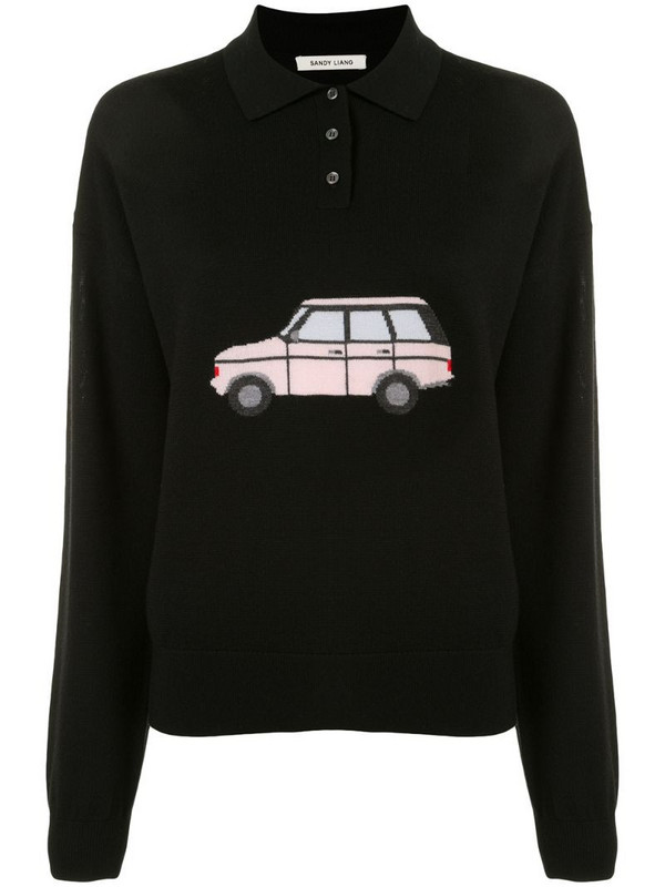 Sandy Liang polo shirt sweater in black