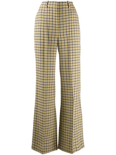 Victoria Beckham check print trousers in neutrals