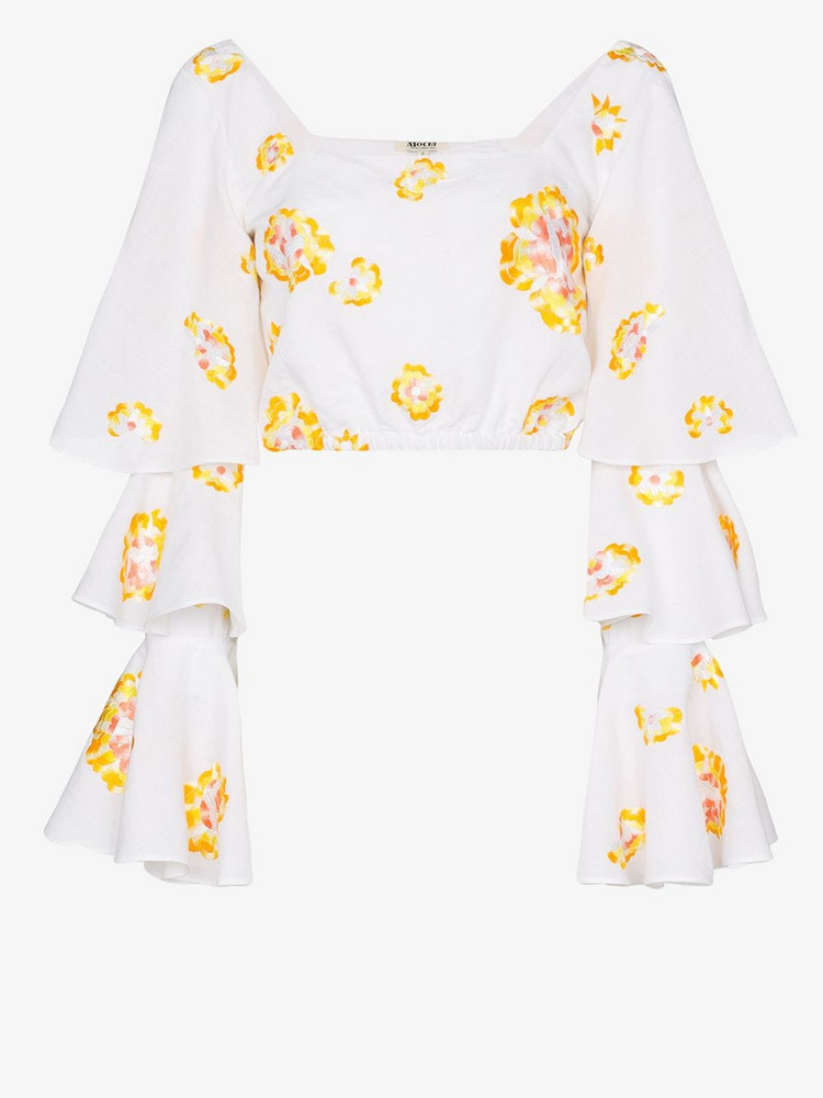 All Things Mochi Bonita floral embroidered ruffled blouse in white