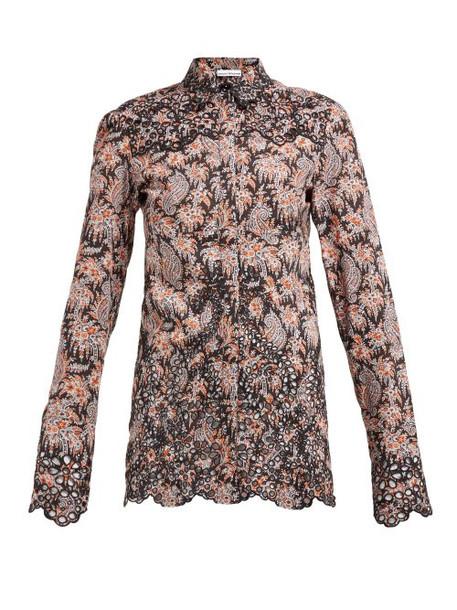 Paco Rabanne - Paisley Print Eyelet Lace Cotton Poplin Shirt - Womens - Black Multi