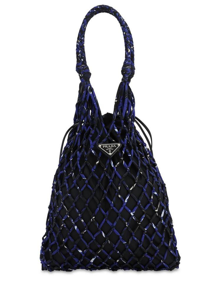 PRADA Printed Nylon Mesh Tote Bag in blue