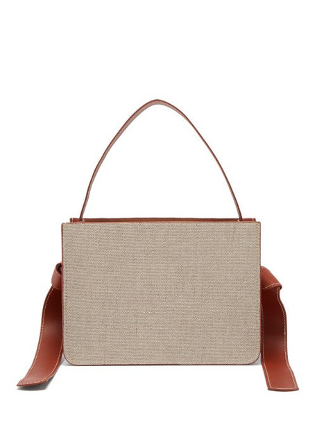 Montunas - Guaria Linen & Leather Box Bag - Womens - Beige