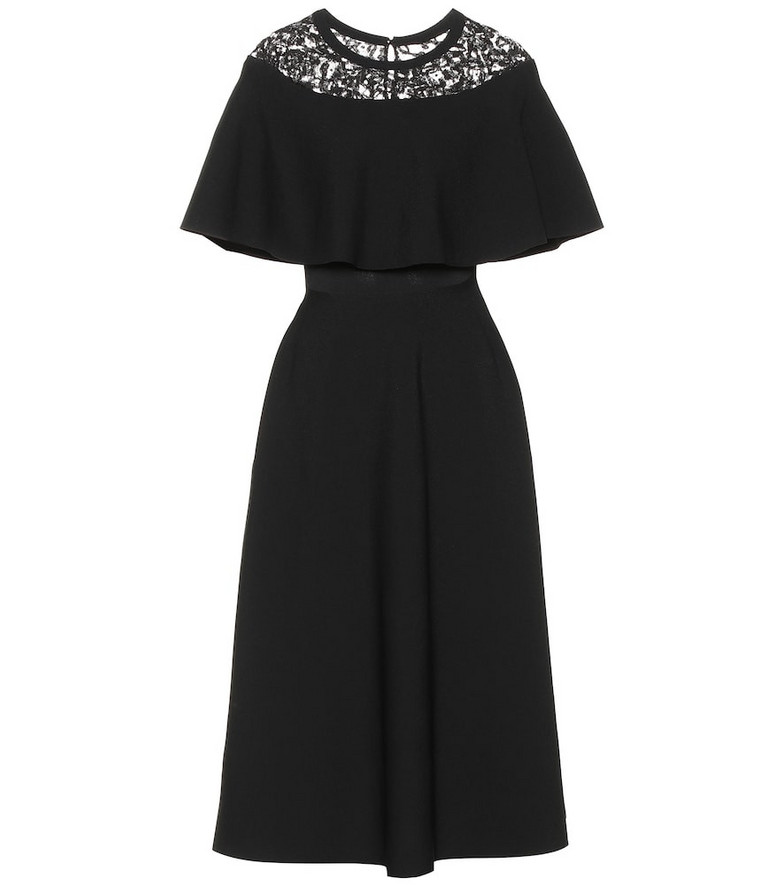 Valentino Lace-trimmed dress in black