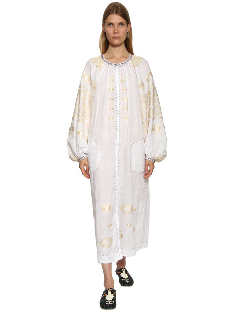 VITA KIN Embroidered Linen Shirt Dress in white / beige