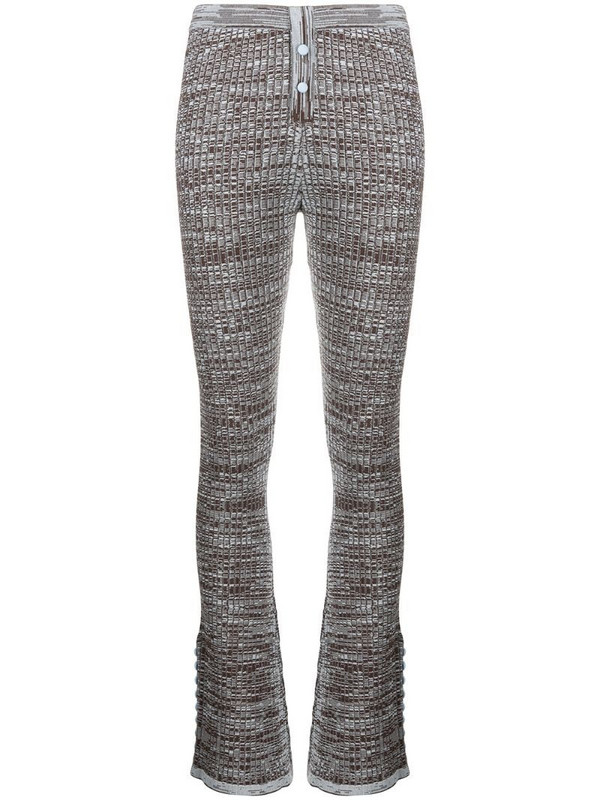 Live The Process Marl knitted flared trousers in brown