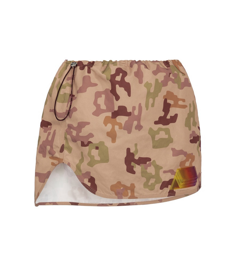 The Attico Camouflage miniskirt in beige