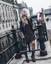 bag,black bag,leather bag,black boots,lace up boots,floral dress,mini dress,leather jacket,black jacket