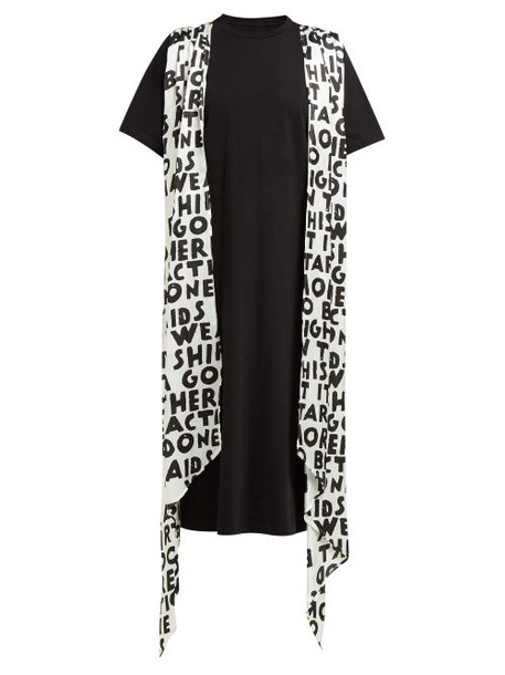 Mm6 Maison Margiela - Graffiti Print Sash Cotton T Shirt Dress - Womens - Black