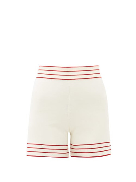 Odyssee - Libertie High-rise Knitted Shorts - Womens - White Multi