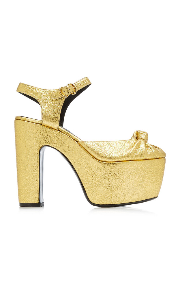 Simon Miller Rink Knotted Metallic Leather Platform Sandals in gold
