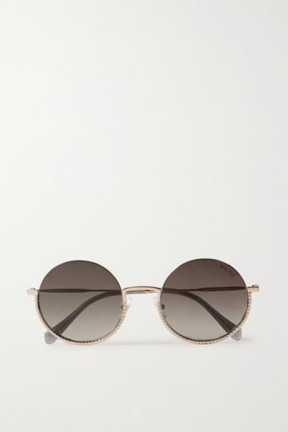 Miu Miu - Crystal-embellished Round-frame Gold-tone Sunglasses