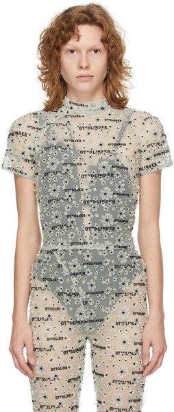 Ottolinger Grey Embroidered Dream T-Shirt in mint