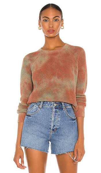 Autumn Cashmere Blotched Scallop Shaker Sweater in Brown in multi