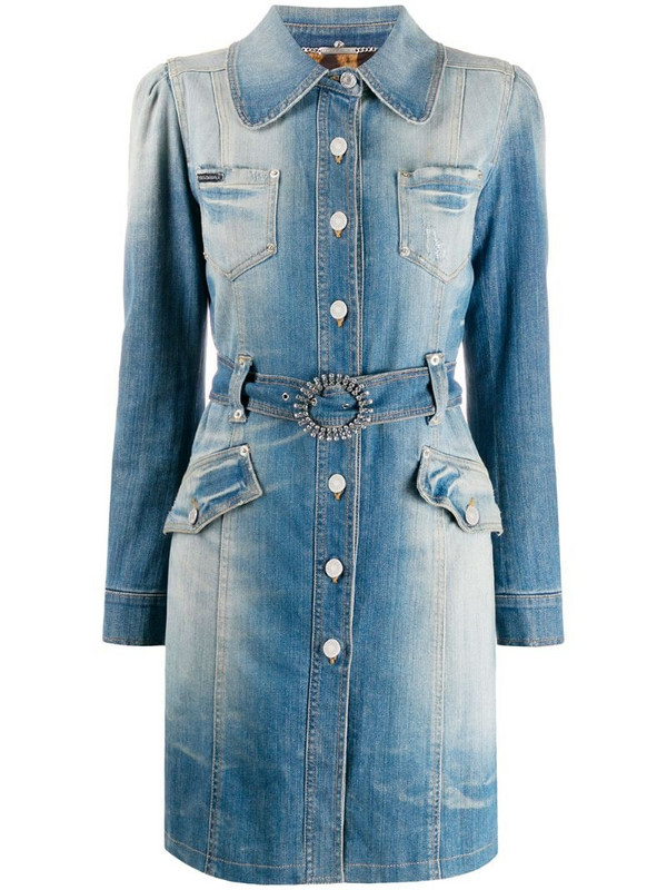 Dolce & Gabbana Pre-Owned denim trench coat in blue