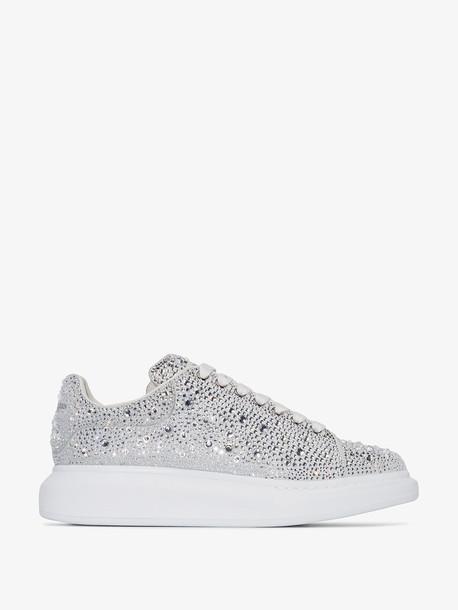 Alexander McQueen white crystal embellished low top sneakers